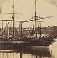 At the 'Dry Docks', the Bombay alongside (1862) (Close-up of P&O Bombay at Mort's Dock, Balmain) (19185599418) (cropped).jpg