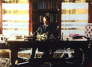 Çankaya Mansion - President Atatürk studying in the Library Room.