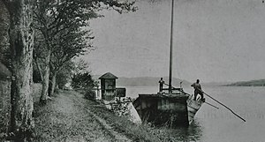 Au Peninsula - a so-called Ledischiff transport boat at the landing gate of the Meilibach brickworks on Zürichsee lake shore