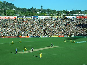 Comparison of baseball and cricket - A One Day International cricket match in progress at Eden Park. The lighter strip is the cricket pitch.
