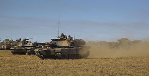 Bradshaw Field Training Area - Australian Army M1A1 Abrams Tanks during an exercise at the Bradshaw Field Training Area in 2014