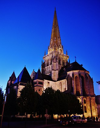 Autun Cathedral - The Autun Cathedral at night