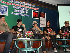 Avenged Sevenfold in Bangkok, Thailand in 2007 (from left to right: M. Shadows, Zacky Vengeance, Synyster Gates, The Rev and Johnny Christ).