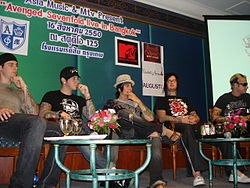 Avenged Sevenfold in Bangkok, Thailand, 2007(From left to right: M. Shadows, Zacky Vengeance, Synyster Gates, The Rev, and Johnny Christ)