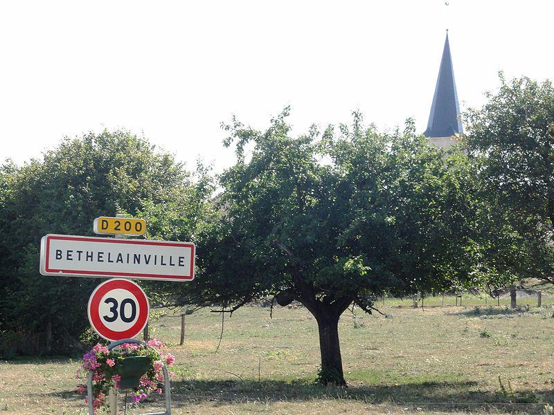 Béthelainville (Meuse) city limit sign