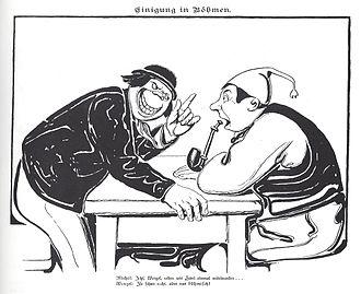 Czech Vašek - Negative Carricature of Czech Vašek talking to Deutscher Michel