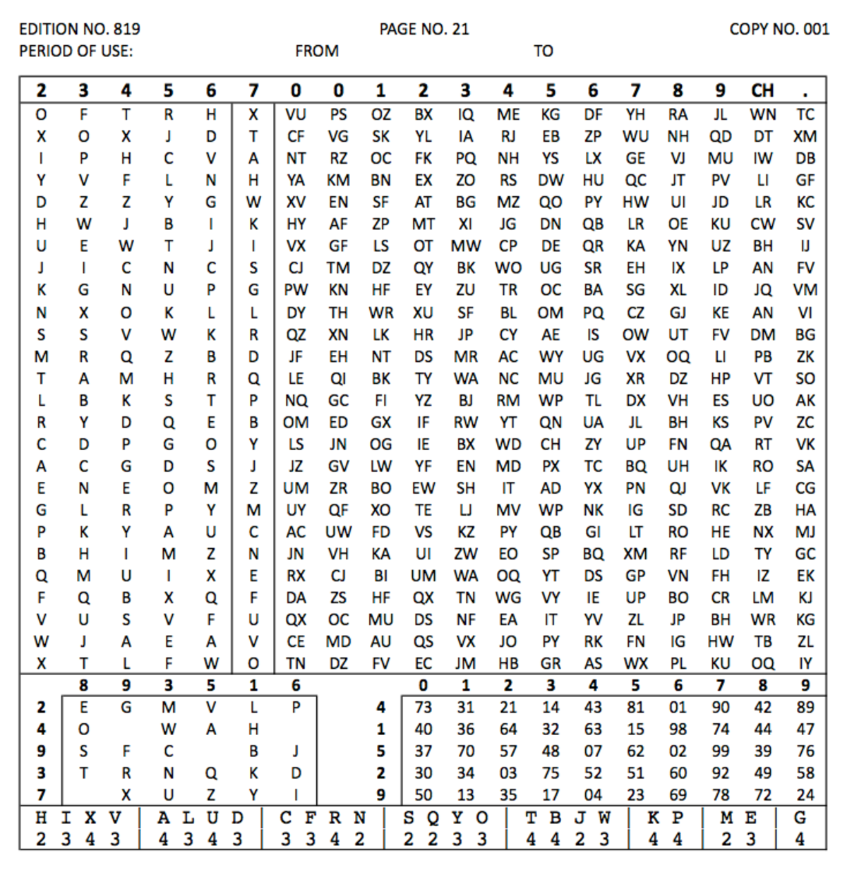 Grid Number Codes For Letters