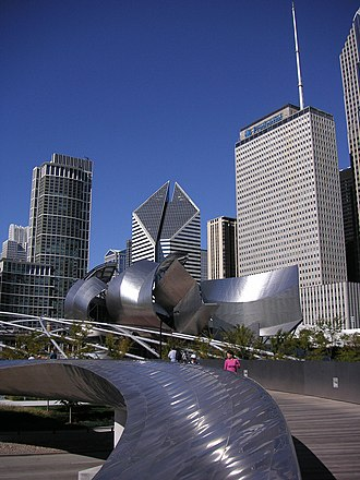 BP Pedestrian Bridge - Gehry designed both the bridge and Jay Pritzker Pavilion with curving stainless steel plates.