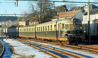 Vestfold Line - Class 66 train at Larvik Station in 1971