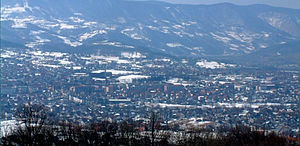 Bajina Bašta - Panoramic view of Bajina Bašta during the winter.