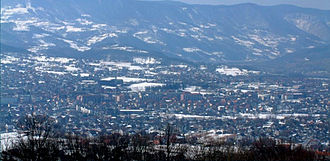 Bajina Bašta - Panoramic view of Bajina Bašta during the winter.