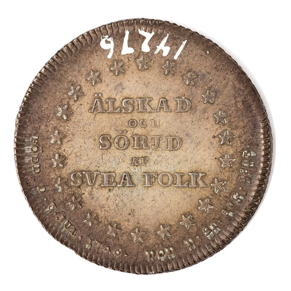 File:Baksida av kastpenning med krans av stjärnor samt text Älskad och sörjd av Svea folk - Skoklosters slott - 99582.tif