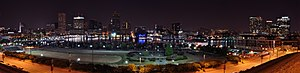 Federal Hill, Baltimore - Panorama of the Inner Harbor taken at night from Federal Hill