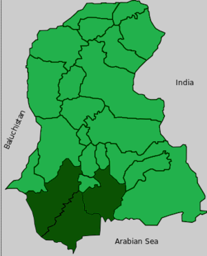 Banbhore Division - Map of Sindh with  highlighted Banbhore Division