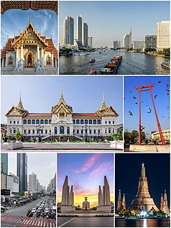 A composite image, consisting of the following, from top to bottom and left to right: a marble temple with gilded decoration and a red multi-levelled roof; a skyline with a few skyscrapers and a river in the middle, where there are a container ship and several ferries on it; a stately building with a Thai-style roof with three spires; a tall red gate-like structure; a skyscrapers-filled skyline with a four lanes road in the middle, there are several cars on it, mostly motorcycles; a monument surrounding by four wing-like structures; four minor Stupas surrounding a major stupa being lit in light yellow manner at night