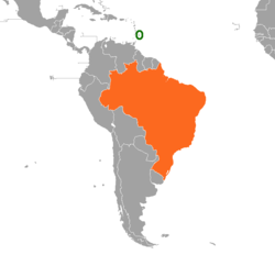 Map indicating locations of Barbados and Brazil