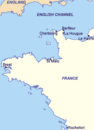 Battles of Barfleur and La Hogue - Locations of the battles in northern France.