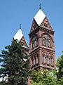 Basilica Katowice Panewniki clock towers.JPG