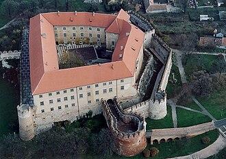 Siklós Castle - Aerial view of bastions at Siklós Castle