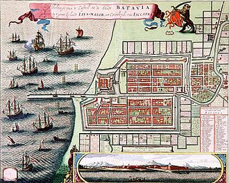 Kota Tua Jakarta - A map of Batavia in 1740. The area of Batavia within the city walls and moat as well as the Sunda Kelapa harbor to the left (north) of the map make up Jakarta Old Town.