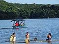Bathers with Boat on Lake Peten Itza - Flores - Peten - Guatemala (15676978079).jpg