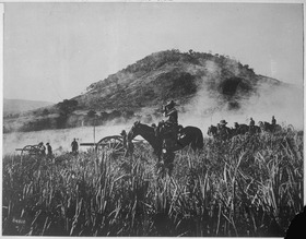 Battery B, 4th Artillery, shelling the blockhouse at Coamo, Porto Rico., 08-09-1898 - NARA - 530886.tif