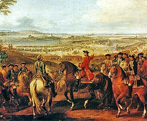 Battle of Lauffeld - Marshal Maurice de Saxe at the Battle of Lauffeldt. Contemporary painting by Pierre Lenfant. (Galerie des Batailles, Palace of Versailles)