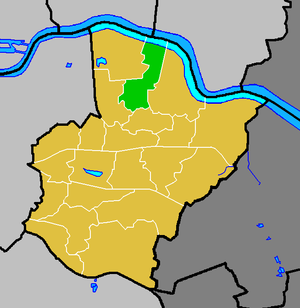 Belvedere, London - Belvedere ward (green) within the London Borough of Bexley (yellow)