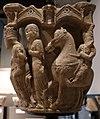 Benedetto antelami, capitello con storie bibliche, dal duomo di parma, 1178, assalonne a cavallo e la regina di saba.jpg