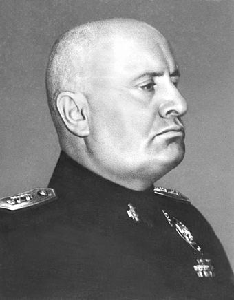 Benito Mussolini, former Duce of the National Fascist Party of Italy Benito Mussolini portrait as dictator (retouched).jpg