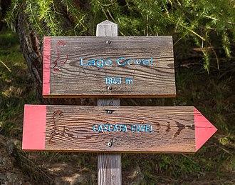 Stelvio National Park - Image: Bergtocht van Peio Paese naar Lago Covel in het Nationaal park Stelvio (Italië). Informatiebord 01