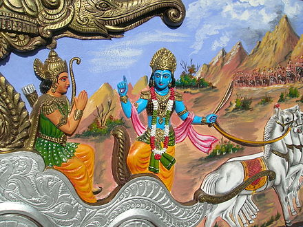 Krishna teaching Arjuna from Bhagavata Gita, a text Thoreau read at Walden Pond Bhagavata Gita Bishnupur Arnab Dutta 2011.JPG