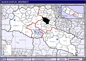 Map of the Makwanpur showing Bhimphedi in black