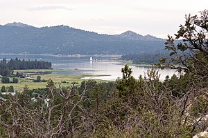 Big Bear Lake, California - Lake view from the east, with observatory visible in center