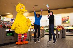 Big Bird, Billy Eichner, and Michelle Obama (22122974910).jpg