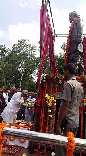 Satyendra Narayan Sinha - Bihar Chief Minister Nitish Kumar inaugurates S. N. Sinha's statue at Satyendra Narayan Sinha Park,Patna