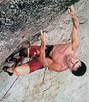 Notable first ascents (sport climbing) - Wolfgang Gullich climbing in Frankenjura (DEU).