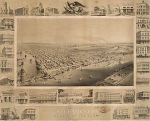History of Sacramento, California - Birds-eye view of Sacramento, ca. 1857