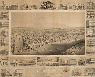 History of Sacramento, California - Birds-eye view of Sacramento, ca. 1857