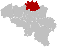 The territorial extent of the diocese of Antwerp. Note that it is smaller than the Province of Antwerp