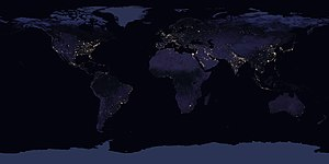 Satellite imagery - Composite image of Earth at night, as only half of Earth is at night at any given moment.