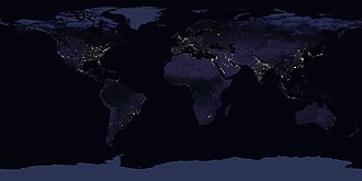 Human - The Earth, as seen from space in 2016, showing the extent of human occupation of the planet. The bright lights signify both the most densely inhabited areas and ones financially capable of illuminating those areas.