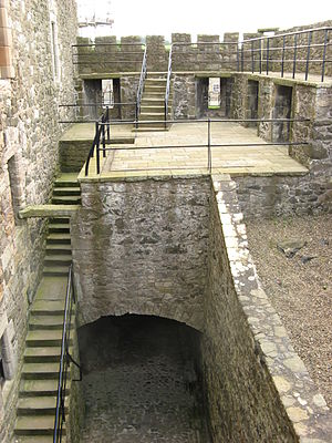 Blackness Castle - The interior of the Spur, showing the access passage leading from the main gate