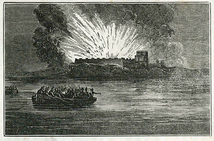 The destruction of Fort Barrancas by the British as they withdraw from Pensacola, November 1814. Blowing-up-fort-barancas.jpg
