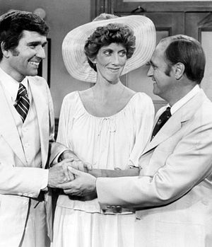 "Marcia Wallace - Wallace with Bob Newhart (right) and Will Mackenzie in the season 4 episode, ""Carol's Wedding"", 1975"