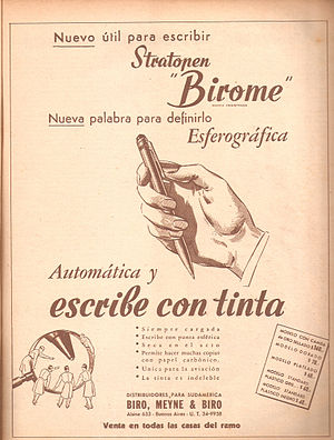 László Bíró - Birome's advertising in Argentine magazine Leoplán, 1945