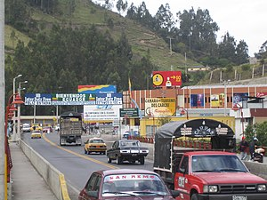 Colombia–Ecuador border - Rumichaca International Bridge, between the cities of Tulcán, Ecuador and Ipiales, Colombia.
