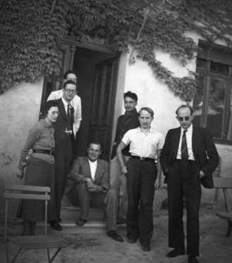 Nicolas Bourbaki - Bourbaki congress at Dieulefit on 1938. From left, Simone Weil, Charles Pisot, André Weil, Jean Dieudonné (sitting), Claude Chabauty, Charles Ehresmann, and Jean Delsarte.