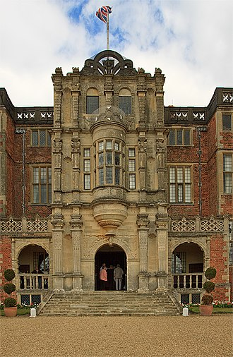 Bramshill House - The central bay and loggia of the south entrance