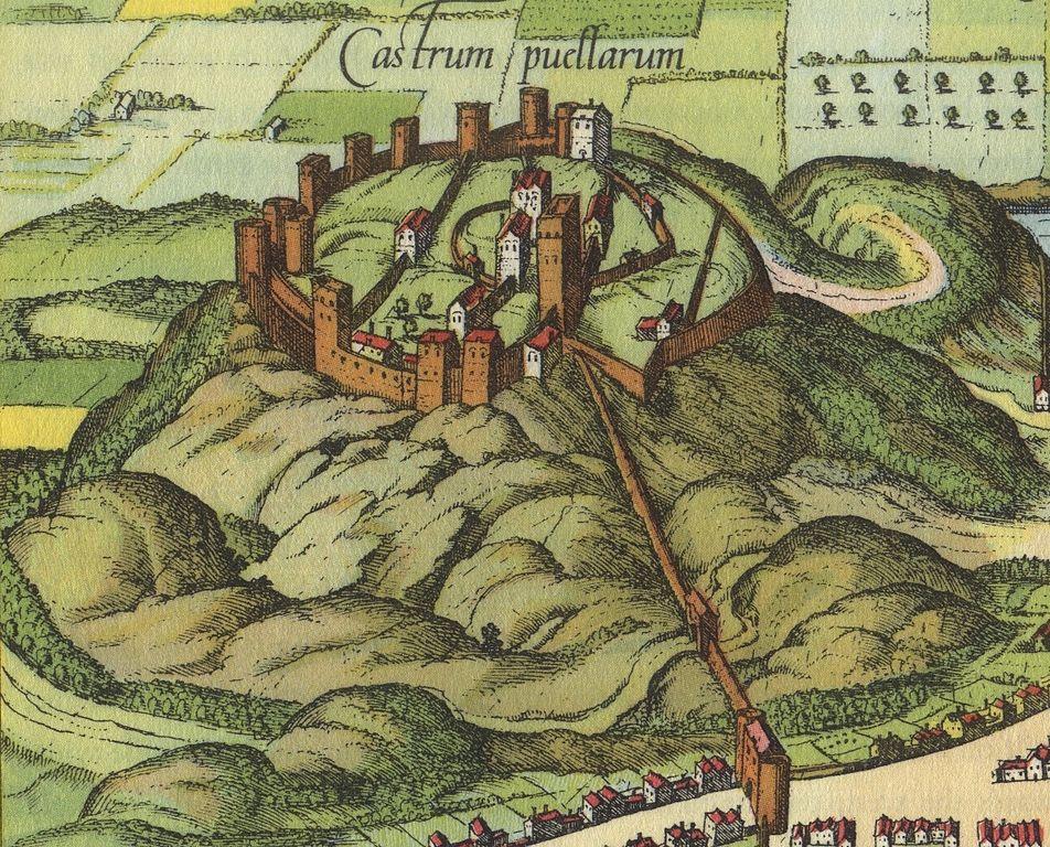 Chateau d'Edimbourg sur un dessin de Braun & Hogenberg vers 1580.